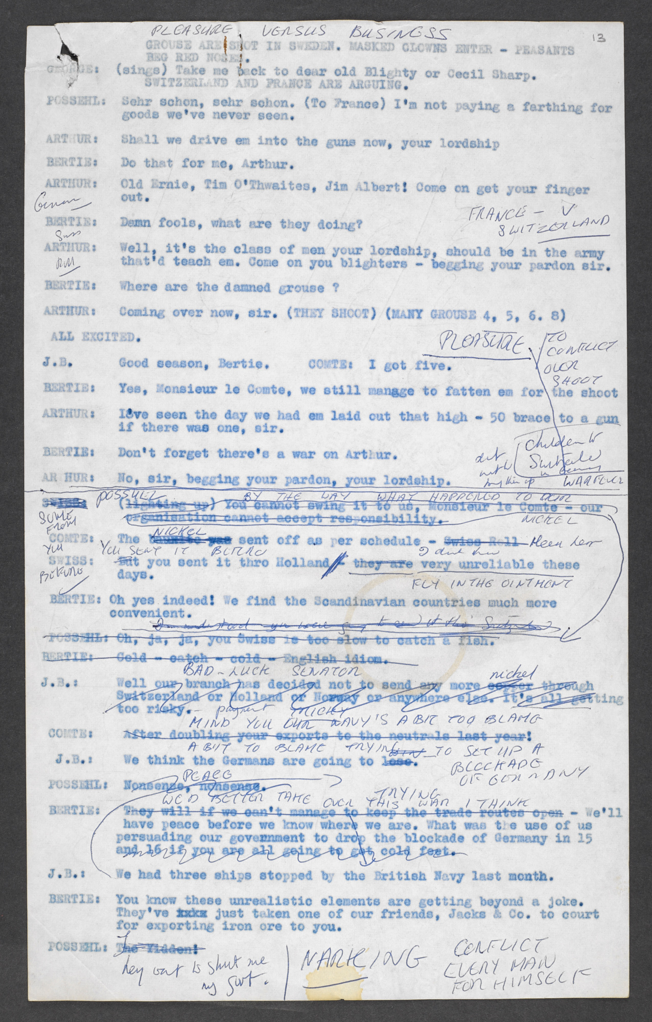 Script extracts from Oh What a Lovely War, with notes and rewrites by Joan Littlewood