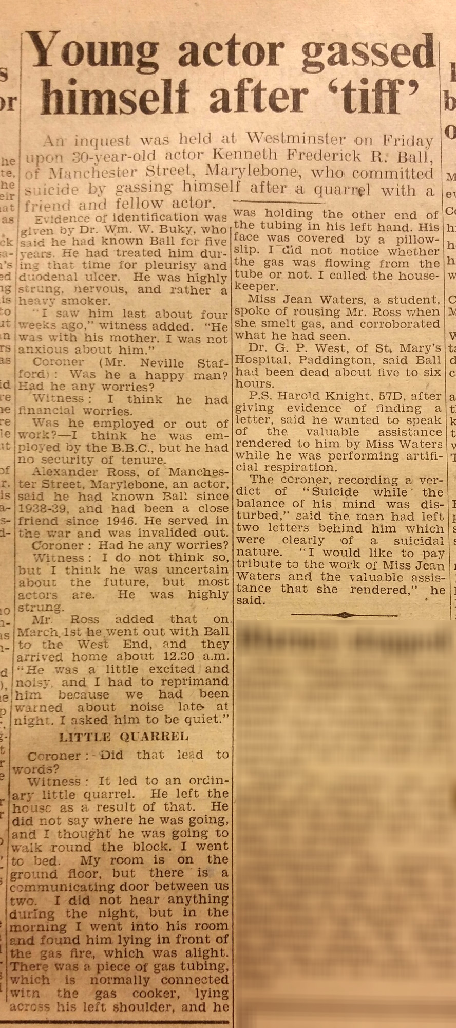 Newspaper report on the suicide of Terence Rattigan's former lover Kenneth Morgan