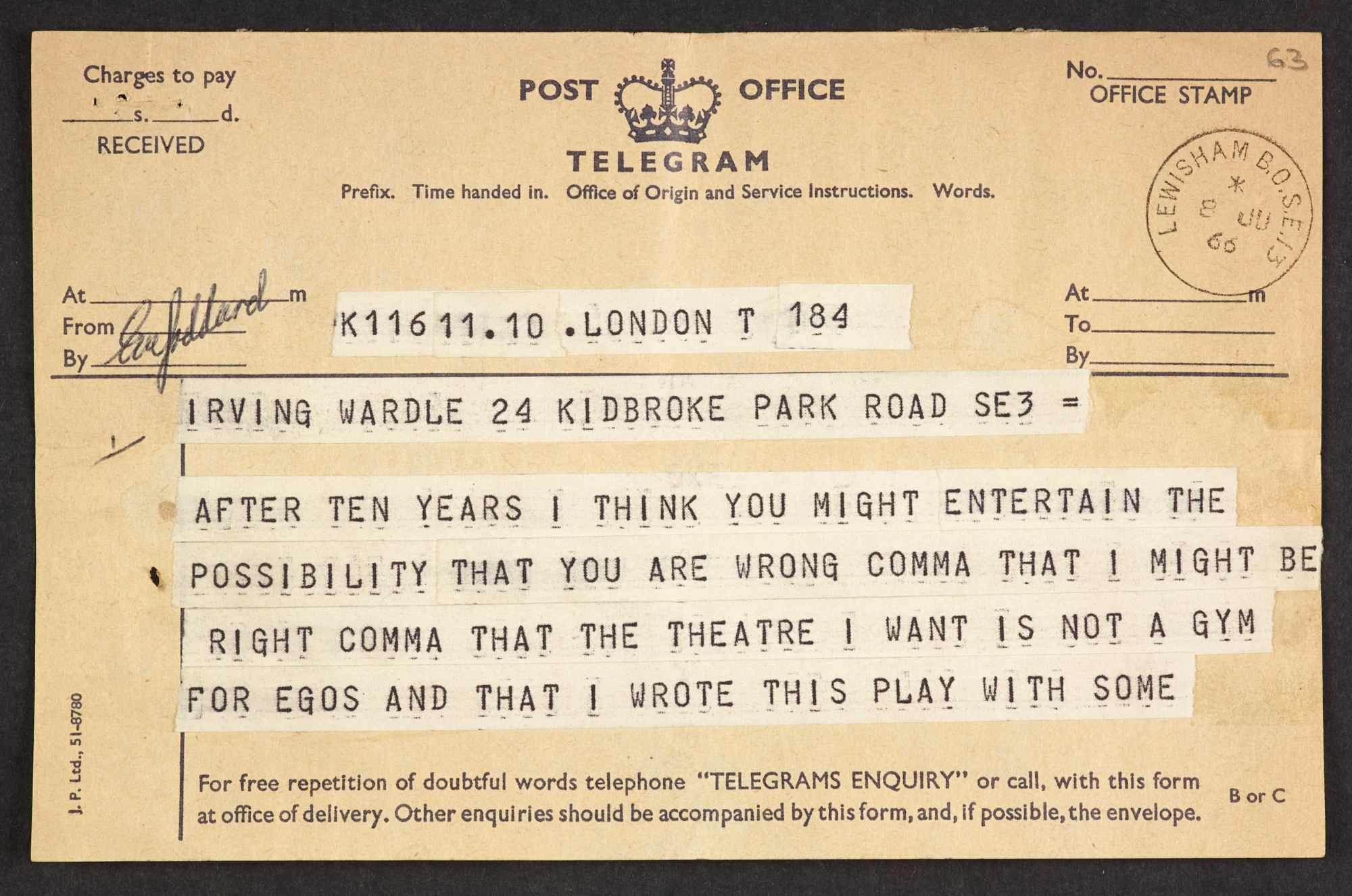 Telegram of complaint from John Osborne to Irving Wardle