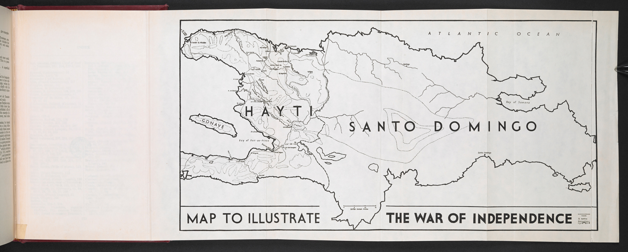 'Map to illustrate the war of independence' from the first edition of C L R James's The Black Jacobins, showing Hayti on the left and Santo Domingo on the right