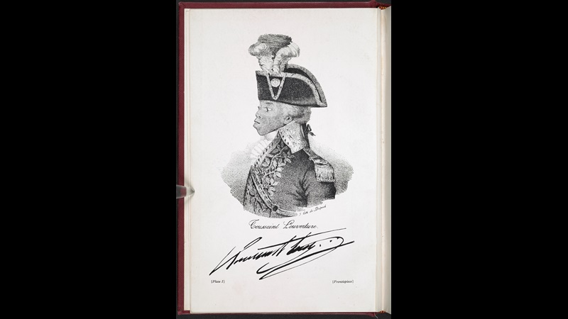 Print depicting a side profile portrait of Toussaint Louverture in full dress uniform with his signature below, from C L R James's The Black Jacobins