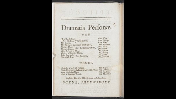 Cast list of characters and actors, split into lists of men and women