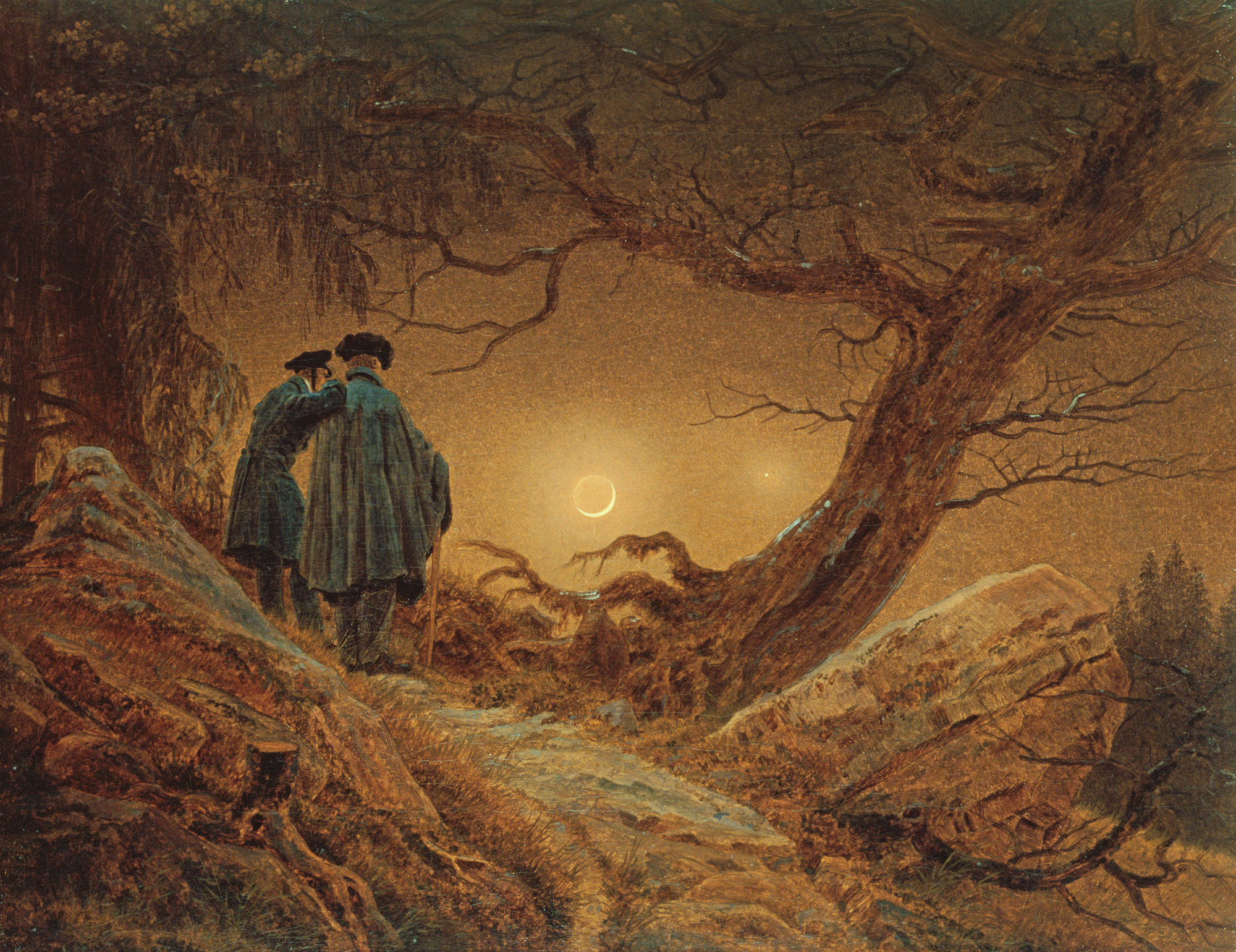 Two Men Contemplating the Moon by Caspar Friedrich