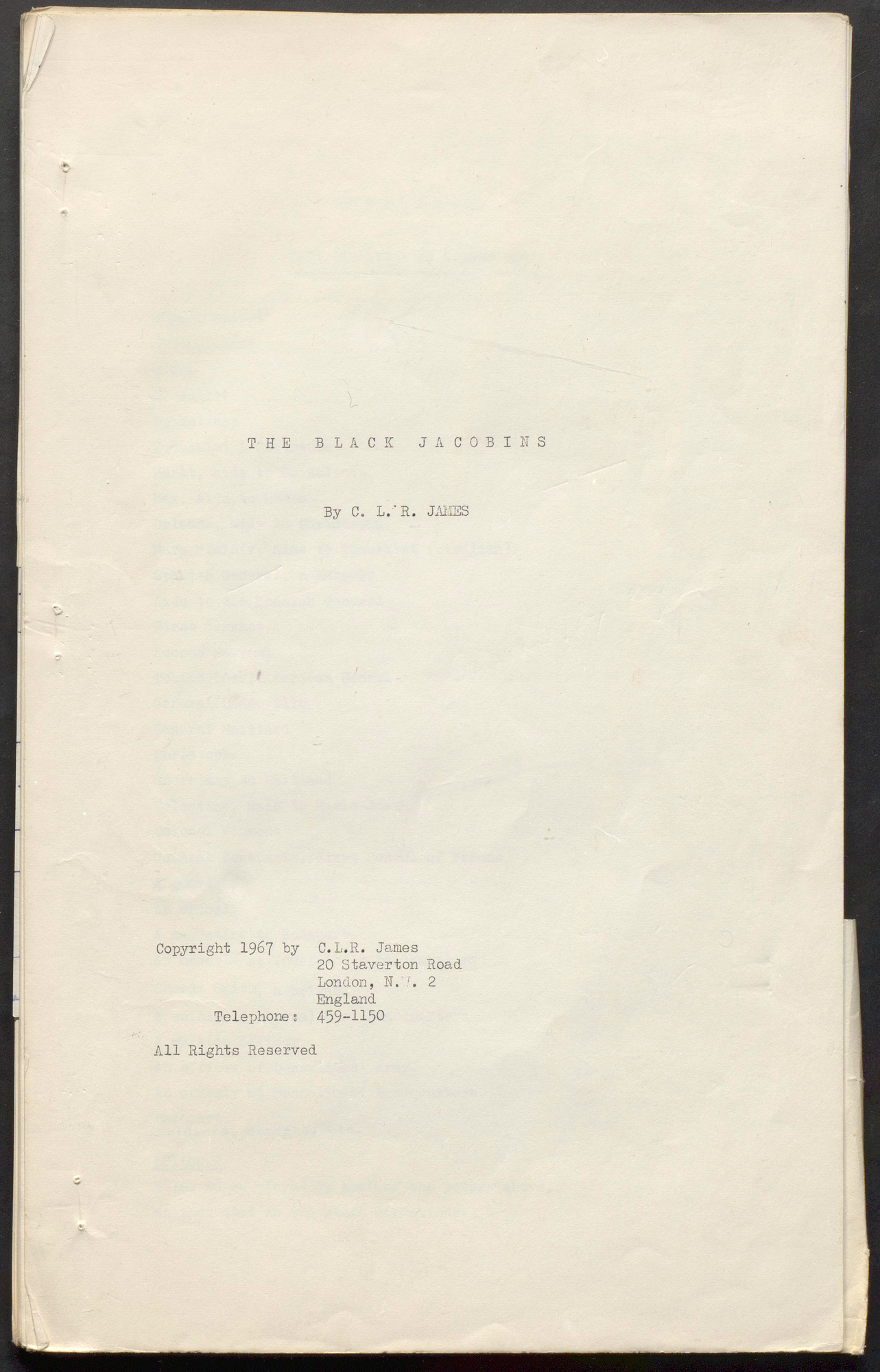 Typescript of The Black Jacobins play by C L R James, 1967