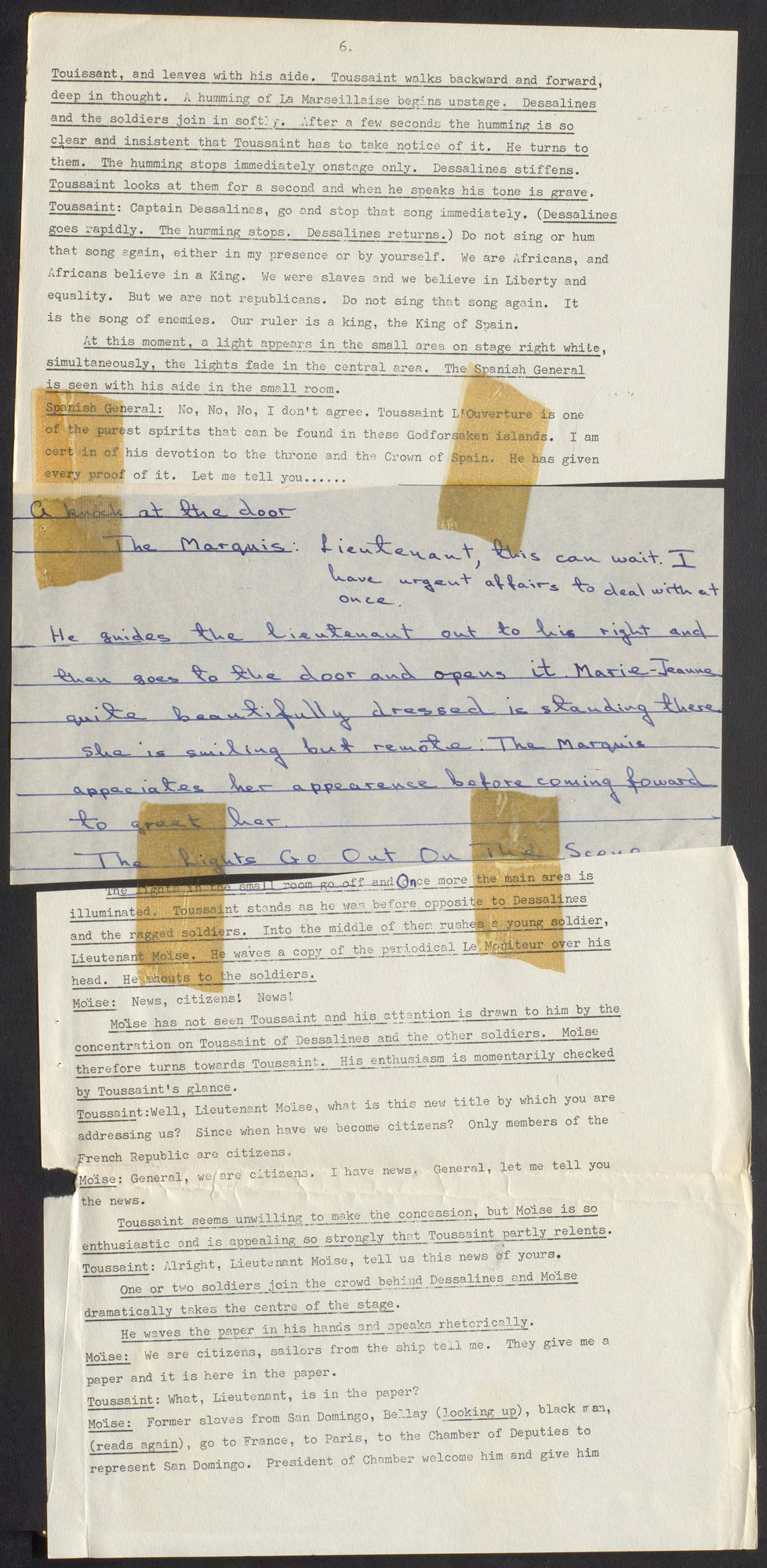 Page 6 from a typescript of The Black Jacobins play by C L R James, 1967, showing a scene featuring Moïse with handwritten text sellotaped between two typed half pages
