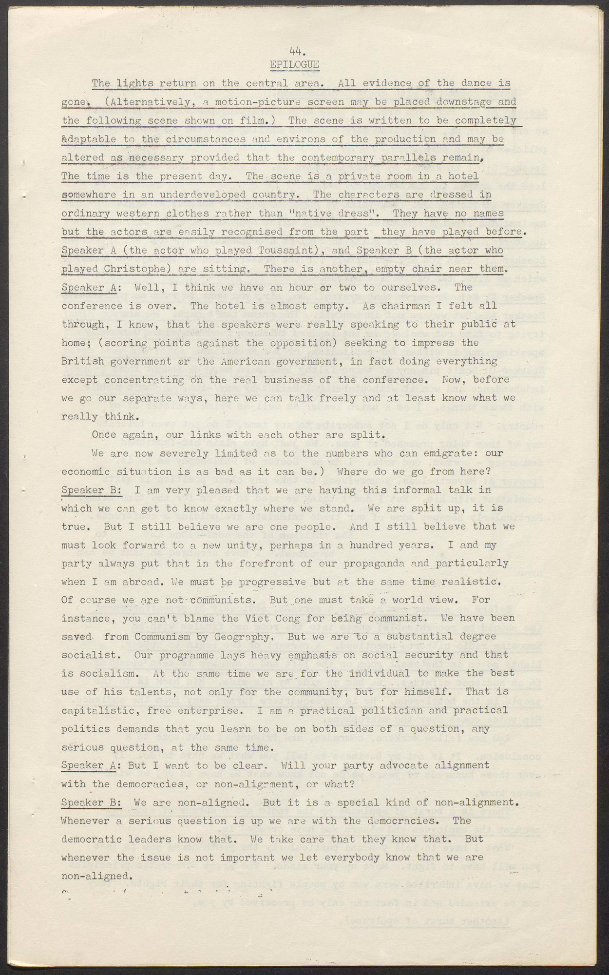 Page 44, first page of the epilogue from a typescript of The Black Jacobins play by C L R James, 1967, containing stage directions and dialogue between Speaker A and Speaker B