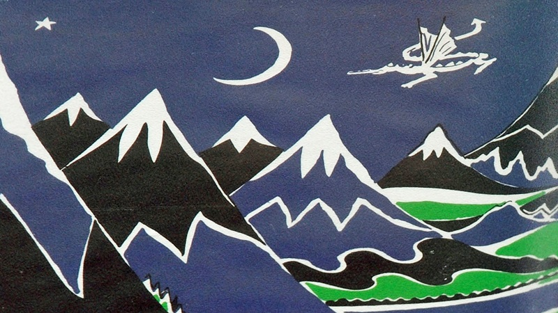 Crop of the dustjacket for The Hobbit, showing mountains and a dragon flying through the night sky.