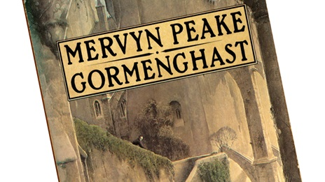 Crop of book cover for Meryvyn Peake's Gormenghast, showing a large intricate stone castle