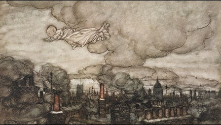 Arthur Rackham illustration of Peter Pan as a baby, flying through the sky over rooftops