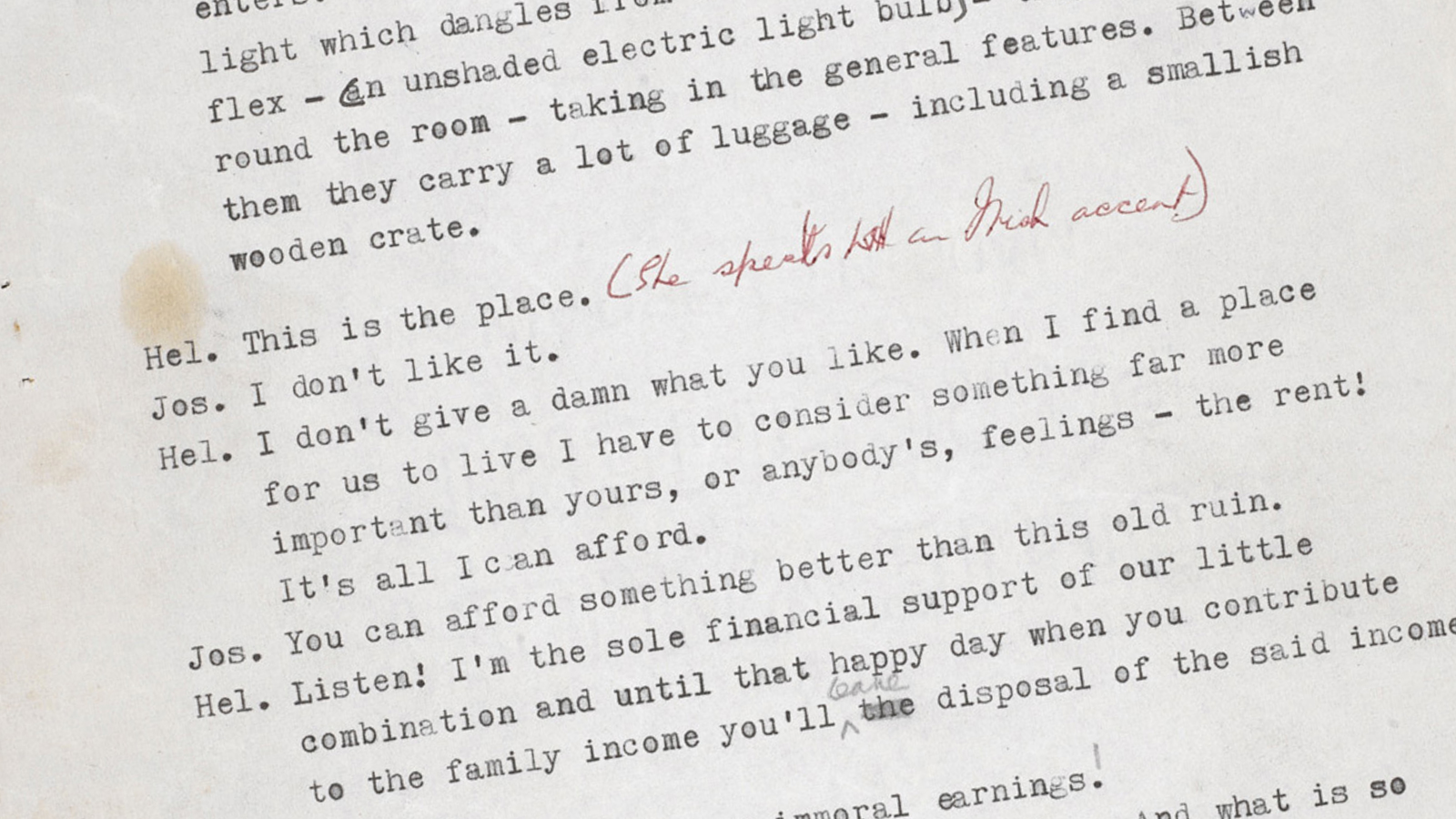 Looking at the original script for A Taste of Honey - The British