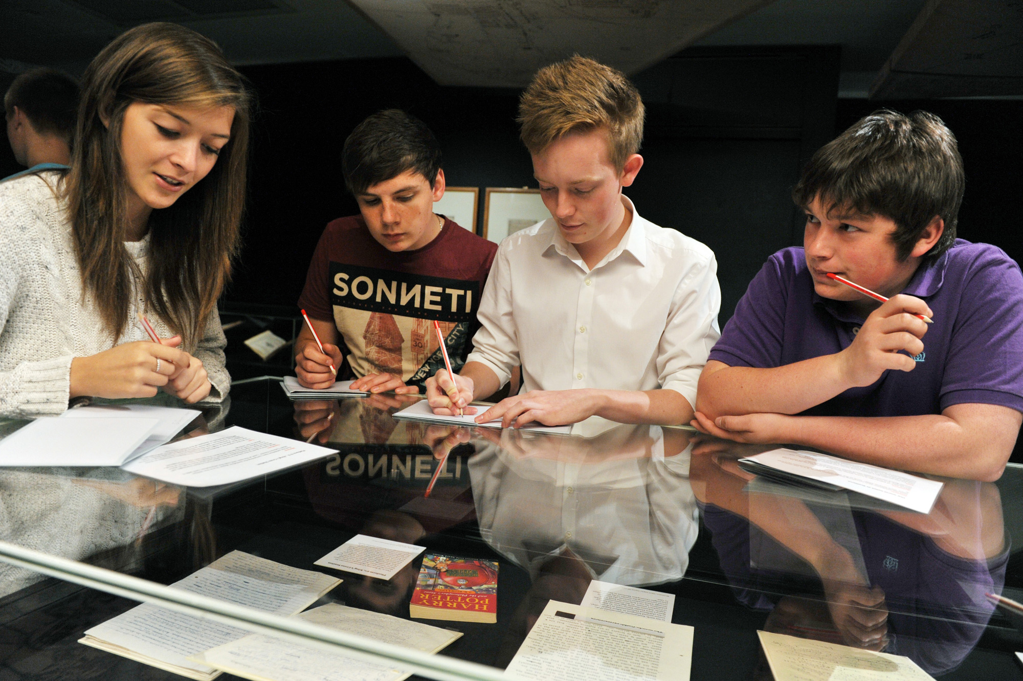 School students at the British Library