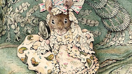 A brown mouse wearing a ornate pink dress and hat. She is holding a mirror in one paw.