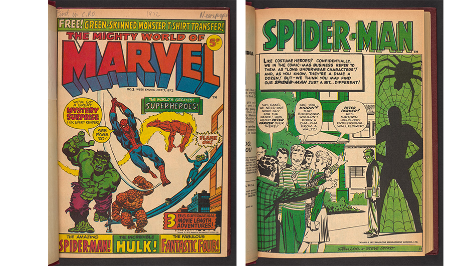 The front cover of Marvel on the left, on the right is the start of a Spider-man story