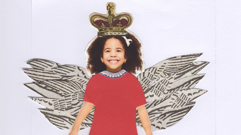 Collage photograph of a girl, with a red dress, wings and a crown
