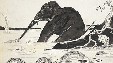 Illustration of an elephant in water. The elephant is straining away from a crocodile that has bitten its trunk