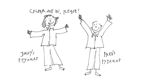Ouline images of two children in pyjamas. The text says 'colour me in please!' The images is drawn by Sir Quentin Blake