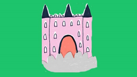 an illustration of a pink castle of a green background