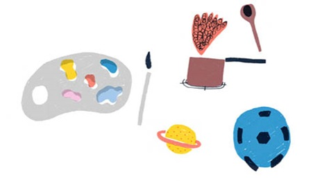 an illustrtaion of a blue football, a planet with a  ring, an artists pallette an paintbrush and a saucepan and spoon