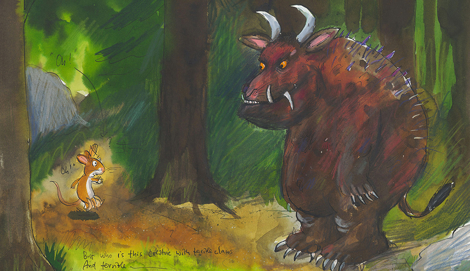 painting of a mouse standing in front of the Gruffalo