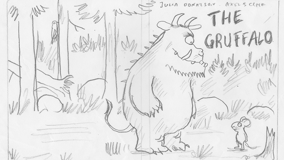 preliminary sketch for the front cover of The Gruffalo