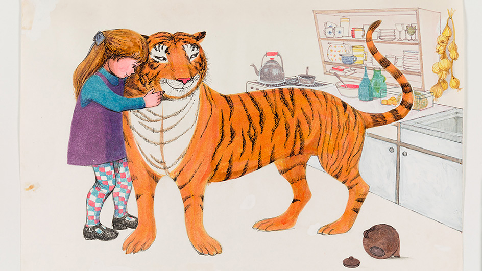 Illustration of a young girl embracing a large tiger as they stand in a kitcen