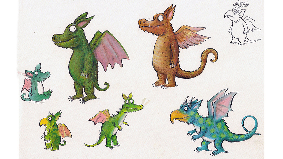 Sketches and coloured illustrations of several of winged dragons
