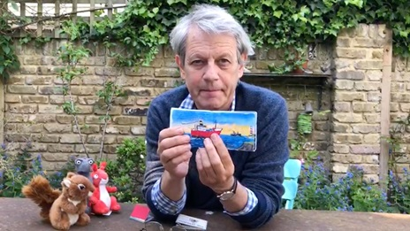 Thumbnail crop for miniature books by famous authors showing Axel Scheffler with some mini books