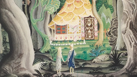 Hansel and Gretel stand in front of the gingerbread house surrounded by a forest