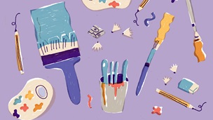 Purple background with illustrations of pencils, paintbrushes, earasers, pencil sharpeners and pencil sharpenings