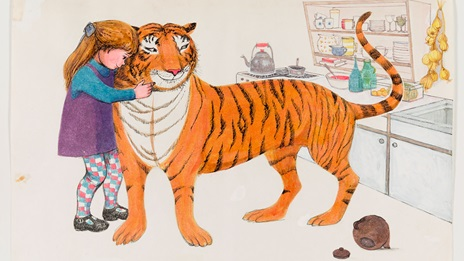 The tiger who came to tea. Illustration. The tiger is standing in a kitchen, a young girl hugs his neck