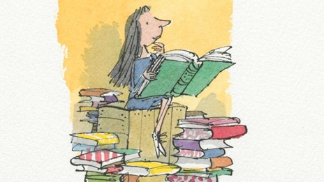Quentin Blake's illustration of Roald Dahl's Matila sitting on a box and surrounded by books