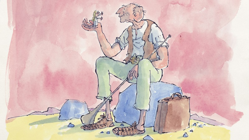 Quentin Blake's illustrtaion of Roald Dahl's BFG. The BFG is sitting on a rock and holding Sophie up in his hand.