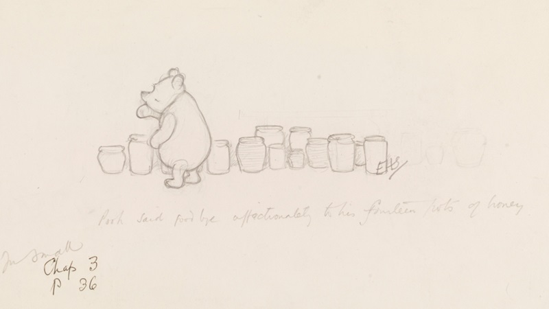 E H Shepherds sketch of Winnie the Pooh looking thoughtful as he stands in front of a line of honey pots