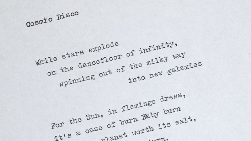 Typescript of the poem Cosmic Disco by Grace Nichols