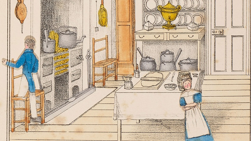 Paper dolls in an illustration of a kitchen