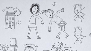 Illustration of Tracy Beaker pulling the hair of another child