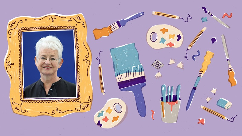 Photograph portrait of Jacqueline Wilson inside an illustrated picture frame. To the right of the picture frame are illustrations of pencils, painbrushes, a pencil sharpener with shavings, paint palettes and an eraser. These are on a purple backgroud.
