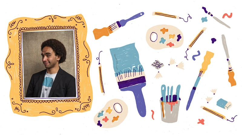 Photograph portrait of Joseph Coelho inside an illustrated picture frame. To the right of the picture frame are illustrations of pencils, painbrushes, a pencil sharpener with shavings, paint palettes and an eraser. These are on a white background