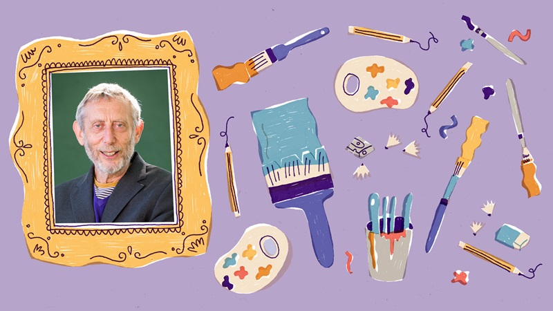 Photograph portrait of Michael Rosen inside an illustrated picture frame. To the right of the picture frame are illustrations of pencils, painbrushes, a pencil sharpener with shavings, paint palettes and an eraser. These are on a purple backgroud.