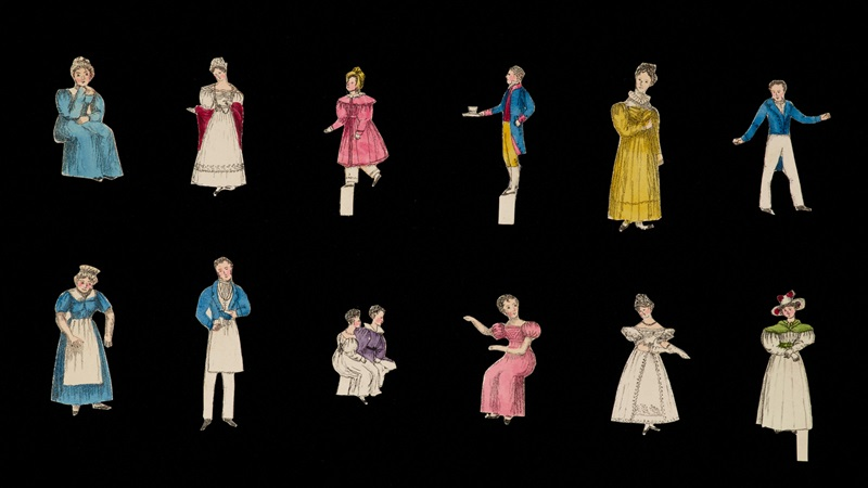 Cut-out figures of different people, from an 19th-century book The Paignion