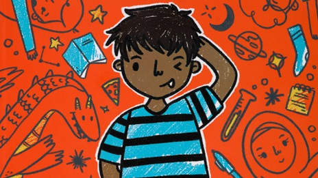 Cartoon illustration of Omar in a stripy tshirt, from the front cover of Planet Omar, with doodles in background