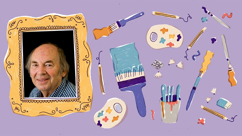 Photograph portrait of Quentin Blake inside an illustrated picture frame. To the right of the picture frame are illustrations of pencils, painbrushes, a pencil sharpener with shavings, paint palettes and an eraser. These are on a purple backgroud.