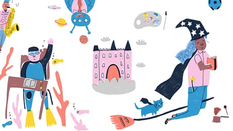 Various small illustrations, a person playing a saxophone, a scubadiver sitting at a desk, an alien, a UFO, a castle, a wicth on a broomstick