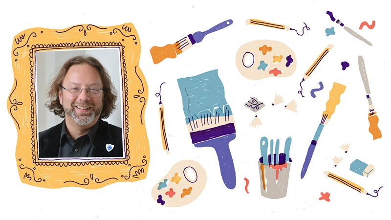 Photograph portrait of S F Said inside an illustrated picture frame. To the right of the picture frame are illustrations of pencils, painbrushes, a pencil sharpener with shavings, paint palettes and an eraser. These are on a white background