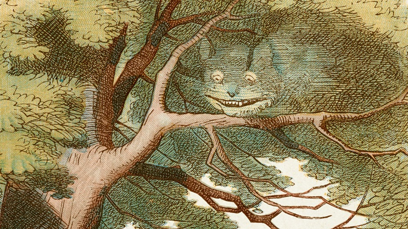 John Tenniel's illustration of the Cheshire Cat, disappearing into the tree he is sat in
