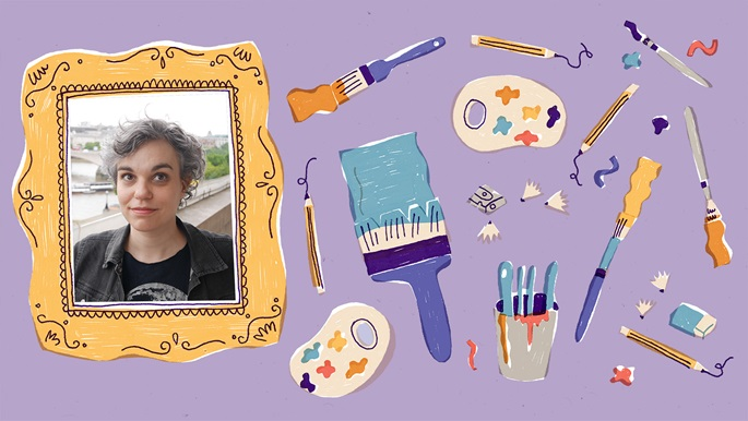 Photograph portrait of Vivian Schwarz inside an illustrated picture frame. To the right of the picture frame are illustrations of pencils, painbrushes, a pencil sharpener with shavings, paint palettes and an eraser. These are on a purple backgroud.