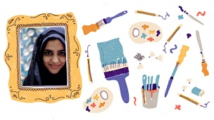 Photograph portrait of Zanib Mian inside an illustrated picture frame. To the right of the picture frame are illustrations of pencils, painbrushes, a pencil sharpener with shavings, paint palettes and an eraser. These are on a white background