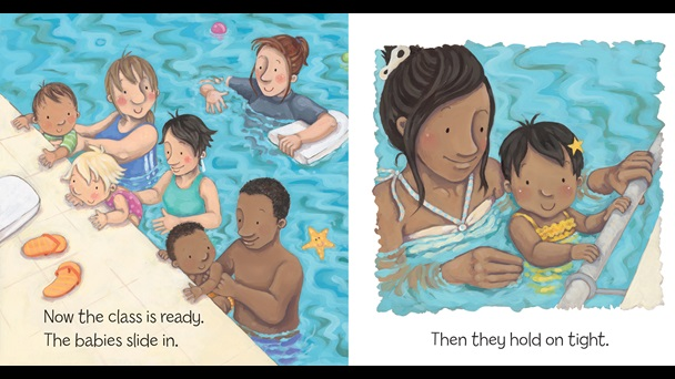 Page from Zeki Can Swim! by Anna McQuinn