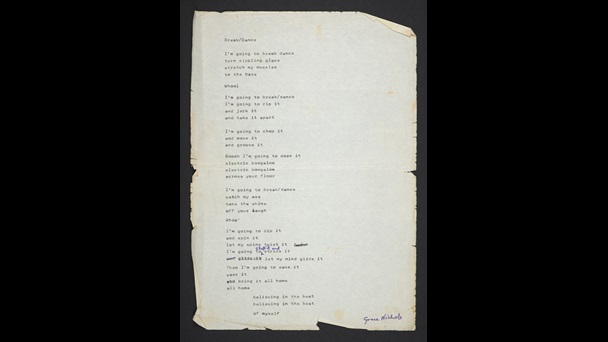 Typed draft of 'Break/Dance'. Nichols made notes and edits to the draft by hand.