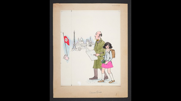 An illustration by Judith Kerr. Anna, wearing a blue cardigan, pink skirt, knee high white sock, brown shoes and a backpack is walking with her father. He wears a green trench coat with brown trousers and shoes, he carries a newspaper., she carries a small bunch of flowers. The Eiffel Tower can be seen in the background. To the left side of the page a pink rabbit  is holding a red Nazi flag